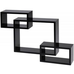 WHITE LABEL - étagère murale cube design noir - Etagère