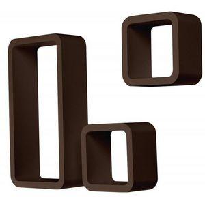 WHITE LABEL - étagère murale x3 cube design marron - Etagère