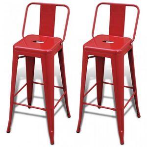 WHITE LABEL - lot de 2 tabourets de bar en acier rouge - Chaise Haute De Bar