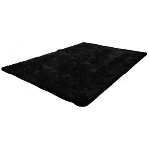 WHITE LABEL - tapis salon noir poil long taille l - Tapis Contemporain