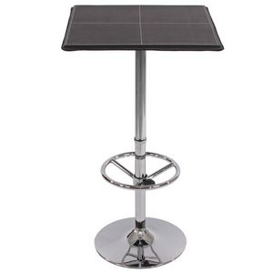 WHITE LABEL - table haute de bar avec repose-pied noir - Mange Debout