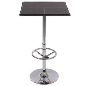 WHITE LABEL - table haute de bar avec repose-pied noir - Mange Debout