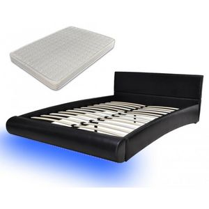 WHITE LABEL - lit led 180 x 200 cm noir + matelas - Ensemble Literie