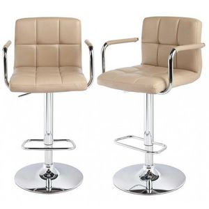 WHITE LABEL - lot de 2 tabourets de bar beige - Chaise Haute De Bar