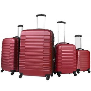 WHITE LABEL - lot de 4 valises bagage abs bordeaux - Valise � Roulettes