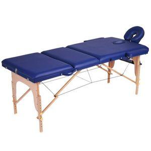WHITE LABEL - table de massage pliante 3 zones bleu - Table De Massage