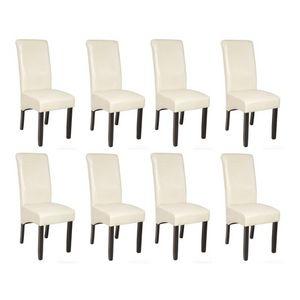 WHITE LABEL - 8 chaises de salle � manger cr�me - Chaise