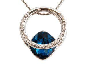 WHITE LABEL - collier anneau solitaire strass et pierre précieus - Collier