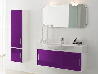 UsiRama.com - meuble design salle de bain 1m violet colonne 1.4m - Meuble Vasque