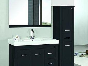 UsiRama.com - meuble salle de bain noir capitaine 1.2m - Meuble Double Vasque