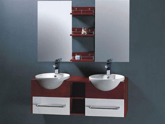 UsiRama.com - meuble salle de bain double vasques bor 1.2m - Meuble Double Vasque