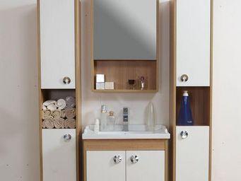 UsiRama.com - meuble salle de bain laqué blanc fonctionnel po - Meuble Vasque