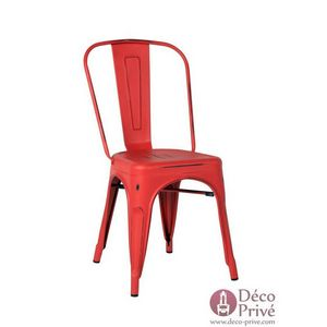 DECO PRIVE - chaise en métal rouge style industriel - Chaise
