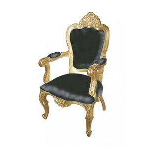 DECO PRIVE - fauteuil baroque noir et doré modèle carved - Fauteuil