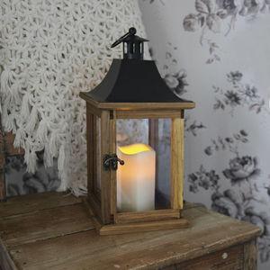 Best Season - lantern - lanterne extérieur bois bougie led h35cm - Lampe De Jardin À Led
