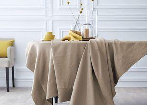 BLANC CERISE - delices de lin sable  - Nappe Rectangulaire