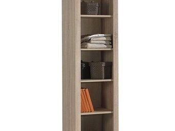 WHITE LABEL - bibliothèque aline design chêne - Colonne De Rangement