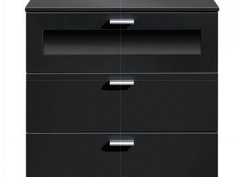 WHITE LABEL - chevet design gallery plus 3 tiroirs blanc et verr - Table De Chevet