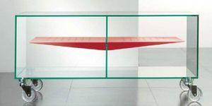 WHITE LABEL - meuble tv malta design en verre avec étagère centr - Meuble Tv Hi Fi