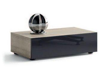 WHITE LABEL - meuble tv design brooklyn chêne gris et verre taup - Meuble Tv Hi Fi