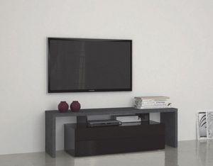 WHITE LABEL - meuble design tv treviso 2 noir - Meuble Tv Hi Fi