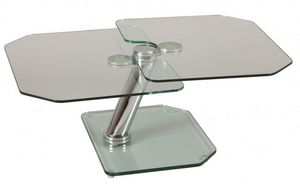 WHITE LABEL - table basse fly double plateaux - Table Basse Forme Originale