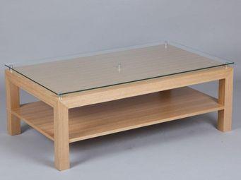WHITE LABEL - table basse eoline avec plateau en verre - Table Basse Rectangulaire