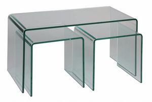 WHITE LABEL - lot de 3 tables basses tanzanite en verre - Tables Gigognes