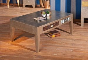 WHITE LABEL - table basse noida métallisée 2 tiroirs - Table Basse Rectangulaire