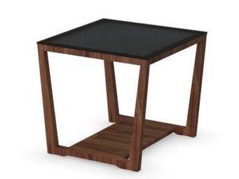 WHITE LABEL - table basse element de calligaris noyer avec plate - Table Basse Carrée