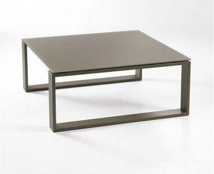 WHITE LABEL - table basse carré tacos design taupe - Table Basse Carrée