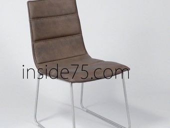 WHITE LABEL - chaises design dodge façon cuir marron piétement m - Chaise