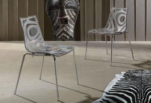 WHITE LABEL - lot de 2 chaises design tribal transparente et tau - Chaise
