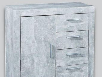 WHITE LABEL - buffet 1 portes et 4 tiroirs aspect béton - Buffet Bas