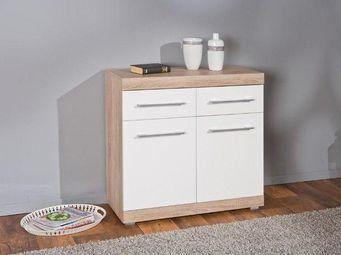 WHITE LABEL - buffet lublin ch�ne blanc 2 portes 2 tiroirs - Buffet Bas