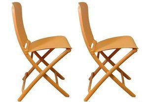 WHITE LABEL - lot de 2 chaises pliante zak design orange - Chaise Pliante