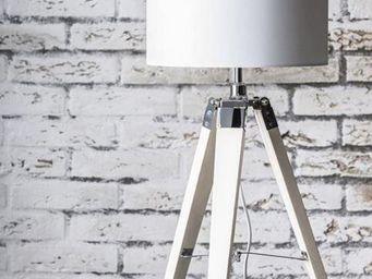 WHITE LABEL - lampe dim design en tissu blanc - Lampe À Poser