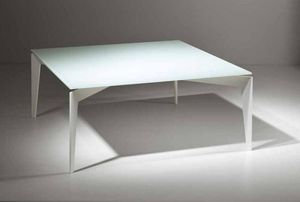 WHITE LABEL - table basse tobias design en verre trempé blanc - Table Basse Carrée