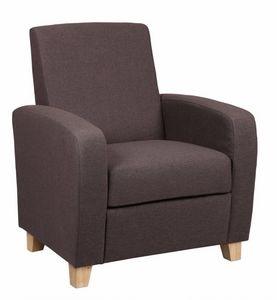 WHITE LABEL - petit fauteuil seated tissu prune - Fauteuil