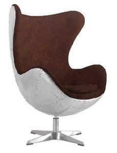 WHITE LABEL - fauteuil eagle aviateur en aluminum style vintage - Fauteuil