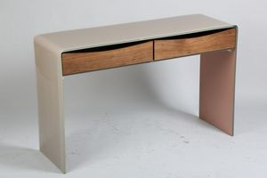 WHITE LABEL - console verre taupe loft 2 tiroirs - Console