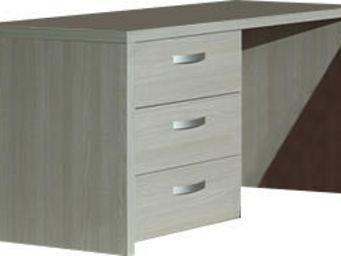 WHITE LABEL - bureau moderne 130 cm 3 tiroirs coloris gris boisé - Bureau Enfant