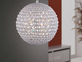 WHITE LABEL - suspension boule 50 cm en cristal - Suspension