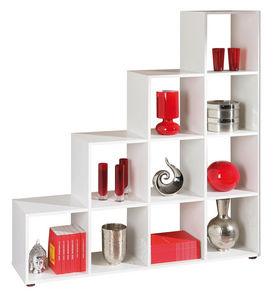 WHITE LABEL - meuble de séparation design escalier coloris blanc - Etagère