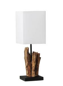 COMFORIUM - lampe à poser en bois flotté et abat-jour blanc - Lampe À Poser