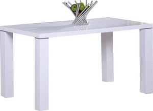 COMFORIUM - table de cuisine 130 cm rectangulaire blanc design - Table De Repas Rectangulaire