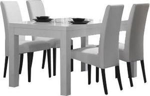 COMFORIUM - ensemble table blanche 190 cm + 4 chaises blanches - Salle À Manger