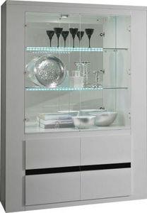 COMFORIUM - vitrine ultra design blanc laqué et noir à 2 porte - Vaisselier