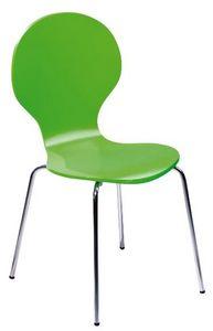 COMFORIUM - lot de 4 chaises en bois vert et métal chromé - Chaise