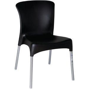 COMFORIUM - lot de 4 simples chaises empilables de coloris noi - Chaise